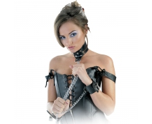Leather Collar and Cuffs — ошейник и наручники, соединенные цепью