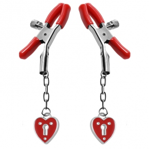 Зажимы для сосков с подвесками XR Brands Master Series Captive Heart Padlock Nipple Clamps