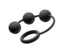Анальные шарики XR Brands Silicone Cock Ring with 3 Weighted Balls